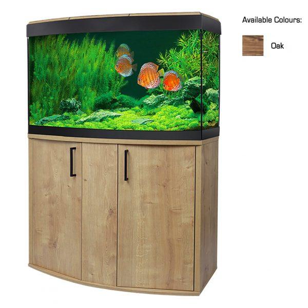 fluval vincenza bow front aquarium oak cabinet