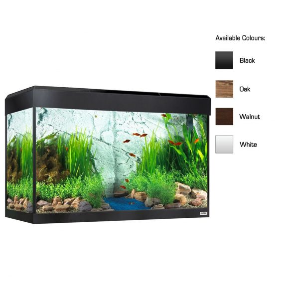 fluval roma aquarium kit with aquasky LED lighting heater and filter available in oak walnut and black available in oak walnut and black