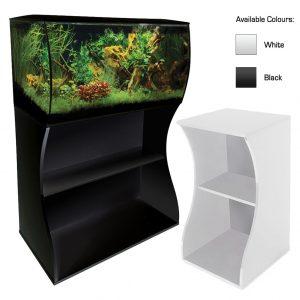 fluval flex curved aquarium stand black and white