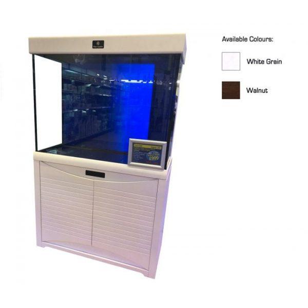 cleair aegean glass aquarium set with cabinet