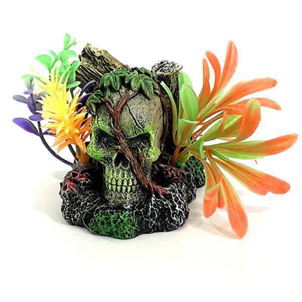 marina iglo skull vines fluorescent aquarium ornament